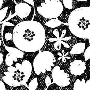 clear cut flowers - black and white floral