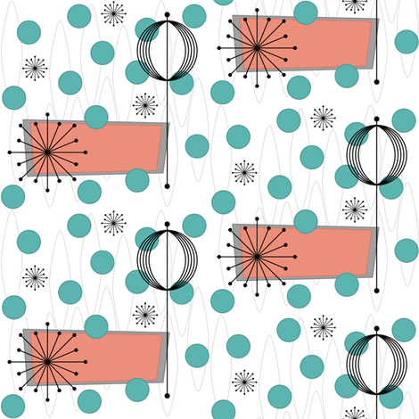 Vicissitude (salmon/green) fabric by tonyanewton on Spoonflower - custom fabric