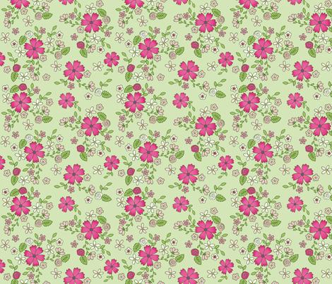Spring pink flowers fabric by hazelfishercreations on Spoonflower - custom fabric
