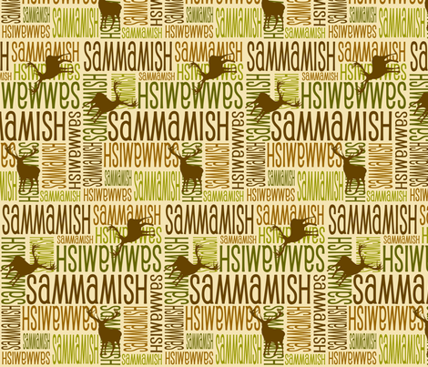 Personalised Name Fabric - Deer in Earth Tones fabric by shelleymade on Spoonflower - custom fabric