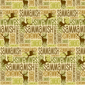 Personalised Name Fabric - Deer in Earth Tones