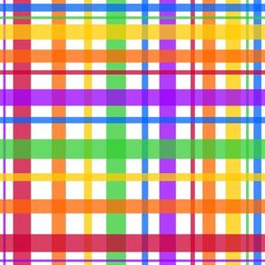 Rainbow Plaid on White