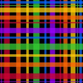 Rainbow Plaid on Black