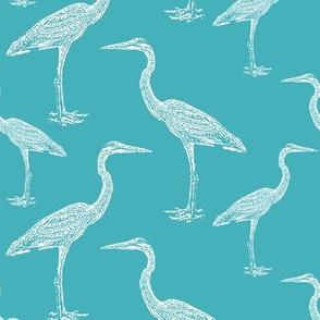Blue Heron on Teal