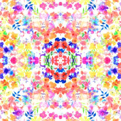 Floral Watercolour Kaleidescope - Large Flower Print