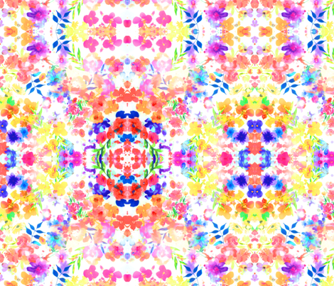 Floral Watercolour Kaleidescope - Large Flower Print fabric by thecumulusfactory on Spoonflower - custom fabric