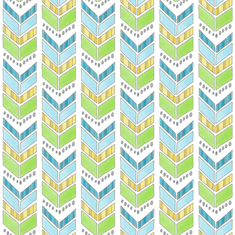 Blue Green and Yellow Chevrons fabric by hazelfishercreations on Spoonflower - custom fabric