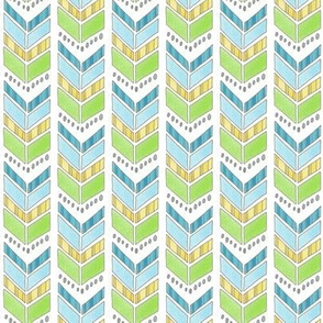 Blue Green and Yellow Chevrons