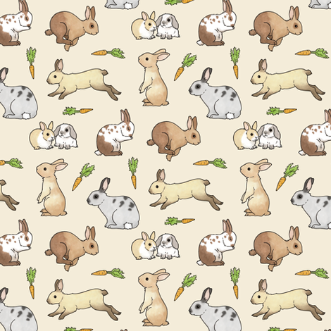 Rabbits fabric by hazel_fisher_creations on Spoonflower - custom fabric