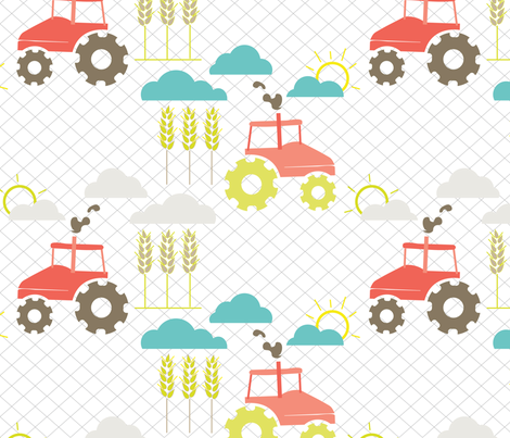 Tractor Day fabric by jenflorentine on Spoonflower - custom fabric