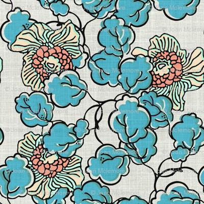 Vintage Block Print Floral in Blue