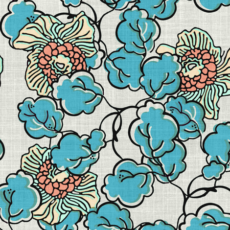 Vintage Block Print Floral in Blue fabric by joanmclemore on Spoonflower - custom fabric