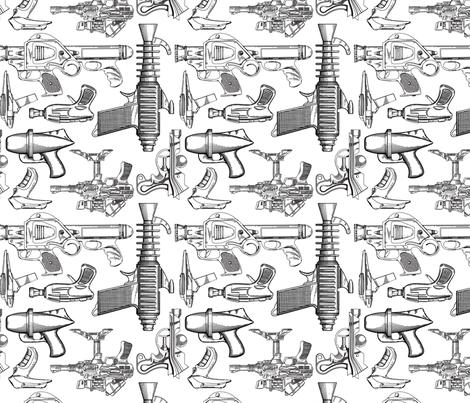 Ray Gun Revival (White) fabric by studiofibonacci on Spoonflower - custom fabric