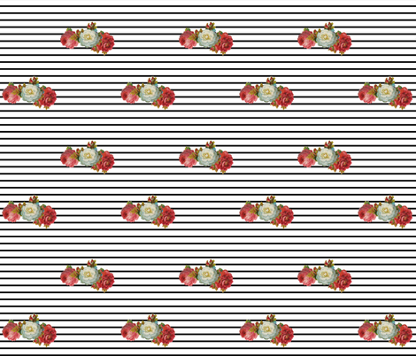 vintage floral stripe fabric by ajoyfulriot on Spoonflower - custom fabric