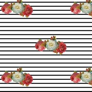 vintage floral stripe