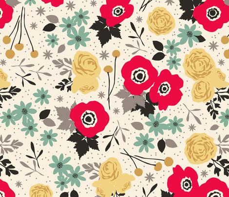 Blumen_Scarlet fabric by einekleinedesignstudio on Spoonflower - custom fabric