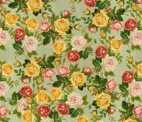 Feminine Pretty Floral Pink/Yellow/Green Shabby Chic fabric by cutencomfy on Spoonflower - custom fabric