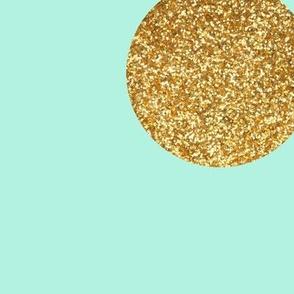 Jumbo Gold Glitter Dots on Mint