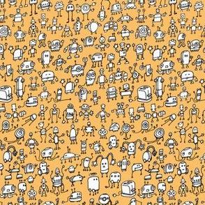 Robots-01, white on orange