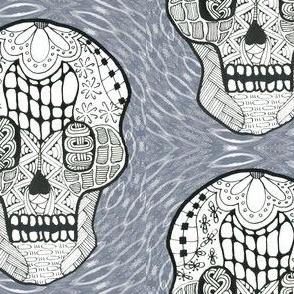Zentangle Skull on Kaleidoscope Background
