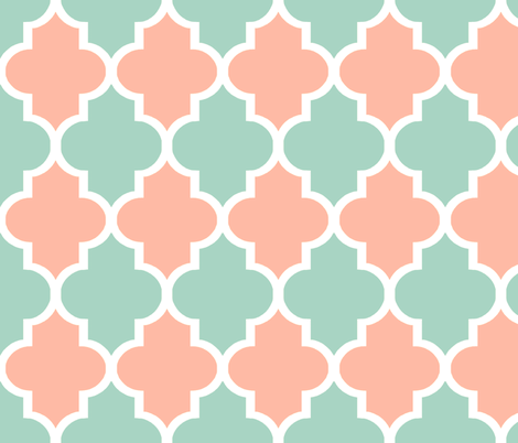Quatrefoil in Mint and Coral fabric by willowlanetextiles on Spoonflower - custom fabric