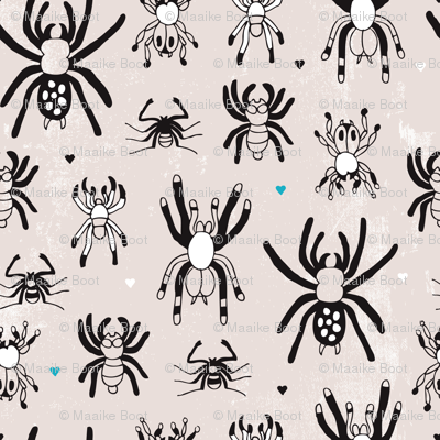 Quirky crazy spider illustration print
