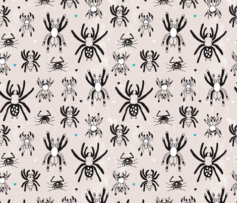 Quirky crazy spider illustration print fabric by littlesmilemakers on Spoonflower - custom fabric