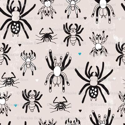 Quirky crazy spider illustration print