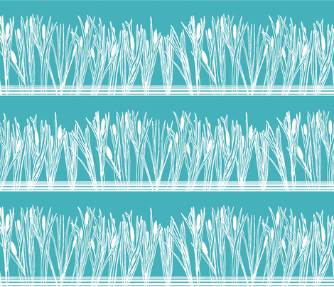 Cattails or Bulrushes by the Pond White on Teal fabric by bloomingwyldeiris on Spoonflower - custom fabric