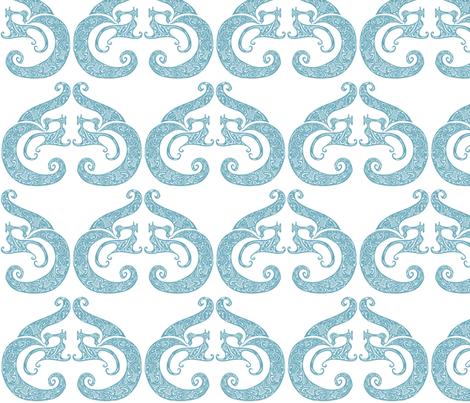Sew Stylish - White & Soft Teal fabric by lottibrown on Spoonflower - custom fabric