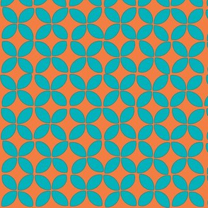 petals (turquoise on orange)
