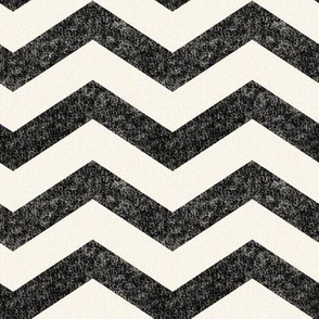Large Black and Cream Chevron