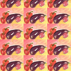 Aubergine and peppers