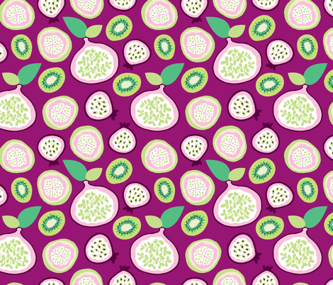 Pomegranate passion fruit and kiwi fabric by littlesmilemakers on Spoonflower - custom fabric
