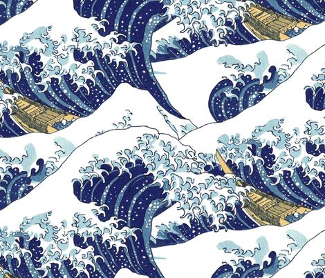 "the endless waves of Hokusai (30"") fabric by weavingmajor on Spoonflower - custom fabric"