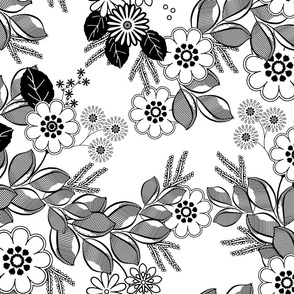 Florist Cascade Black and White Floral  Coloring Book