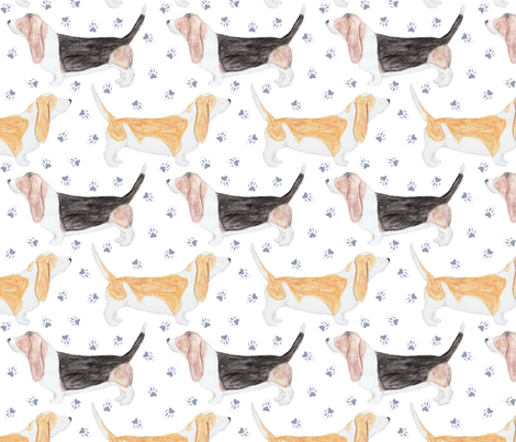 Watercolor Basset hounds and pawprints fabric by rusticcorgi on Spoonflower - custom fabric