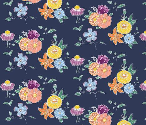 PP chalkboard flowers fabric by kerryn on Spoonflower - custom fabric