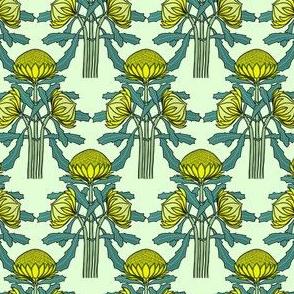 Upright waratahs, yellow on mint, by Su_G