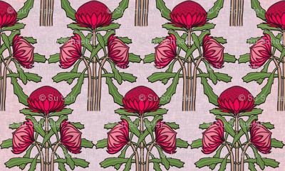 Upright waratahs, carmine on pale pink linen by Su_G