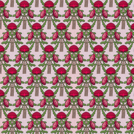 Upright waratahs, carmine on pale pink linen fabric by su_g on Spoonflower - custom fabric