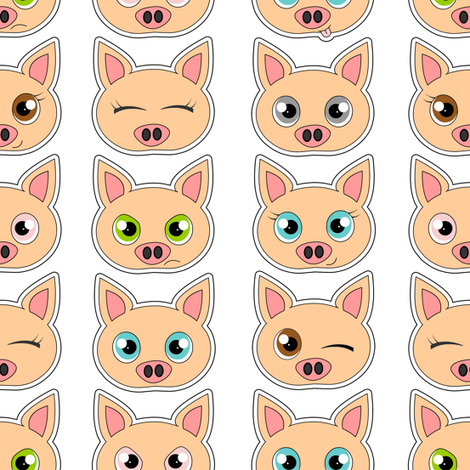 Cute Pig Expressions fabric by jannasalak on Spoonflower - custom fabric