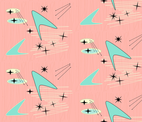 Atomic Boomerang & Starburst - Pale Salmon fabric by lillierioux on Spoonflower - custom fabric