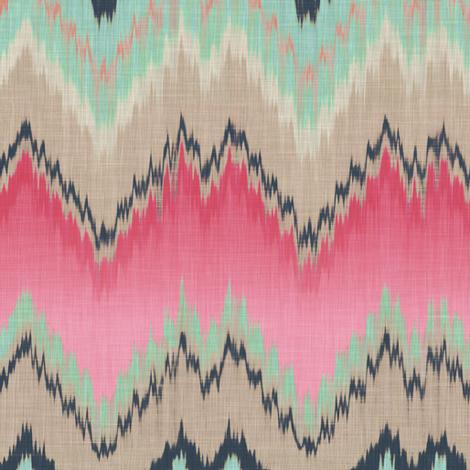 Fuchsia Ikat Chevron fabric by willowlanetextiles on Spoonflower - custom fabric