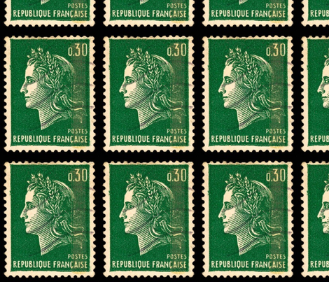 6189084 Vintage French Postage Stamp Fabric By Carolines On Spoonflower