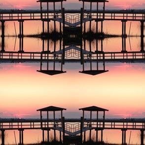 dock sunset stripe