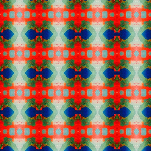 folk weave in blue and red