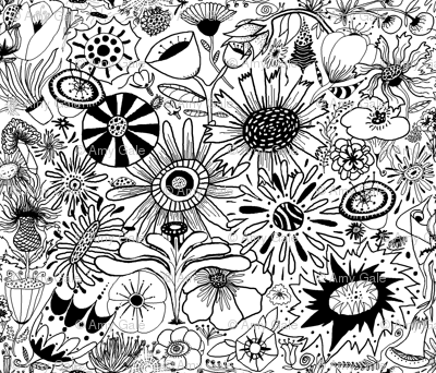 black and white flower doodle fantasy
