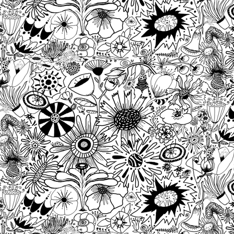black and white flower doodle fantasy fabric by amy_g on Spoonflower - custom fabric
