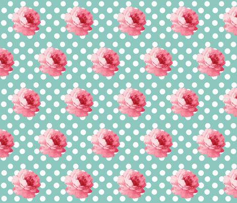 Vintage Teal Flowers fabric by ajoyfulriot on Spoonflower - custom fabric